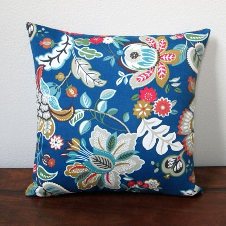 (Artisan Pillows 18-inch Indoor/Outdoor Telfair Peacock Tropical Island Hawaiian Beach Flowers in Blue  - Pillow Cover Only (Set of 2))