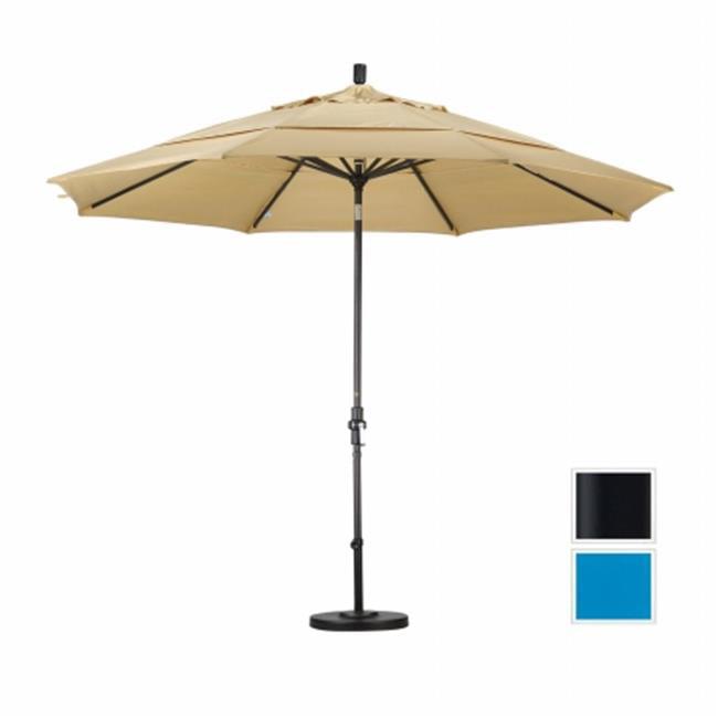 Produits mars GSCU118302-5401-SEV 11 pi en aluminium Market Umbrella col Tilt Vents Doubles - Matted Black - Sunbrella - bleu Pacifique - image 1 de 1