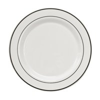 "Party Essentials 12-Count Hard Plastic 9"" Divine Dinnerware Disposable China Lunch/Dinner Plates, White with Silver Band"