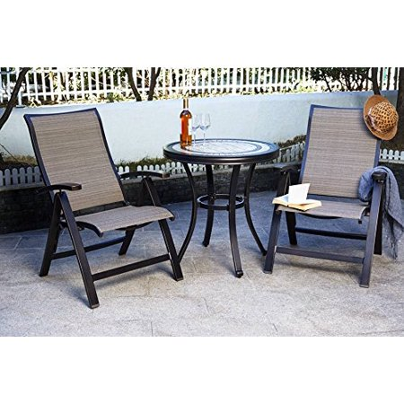 Dali 3 Piece Bistro Set, Handmade Contemporary Round Table Folding Chairs Outdoor Patio Furniture ()