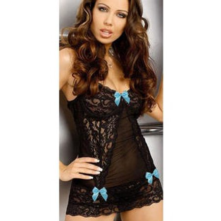 Women's Fashion Lace Lingerie With Beautiful Small Bow Blue ()