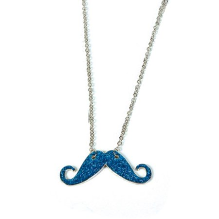 Blue Silver Hipster Trendy Costume Moustache Shiny Sparkle Necklace - Trendy Costume Ideas