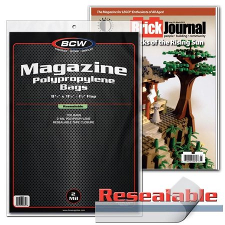 100 BCW MAGAZINE RESEALABLE BAGS - 8 3/4 x 11 1/8 (Bcw Magazine Bags)