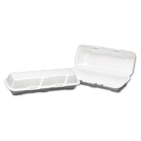 Genpak Foam Hinged Hoagie Container, X-Large, 13-1/5x4-1/2x3-1/5, White, 100/BG, (Hoagie Foam)