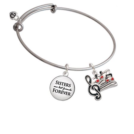 Music Sheet with Hearts Sisters are Best Friends Bangle Bracelet