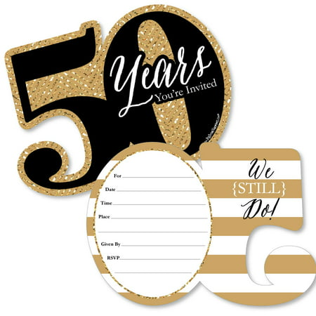 We Still Do - 50th Wedding Anniversary - Shaped Fill-In Invitations - Anniversary Party Invitations - Set of 12 Golden Wedding Anniversary Invitations