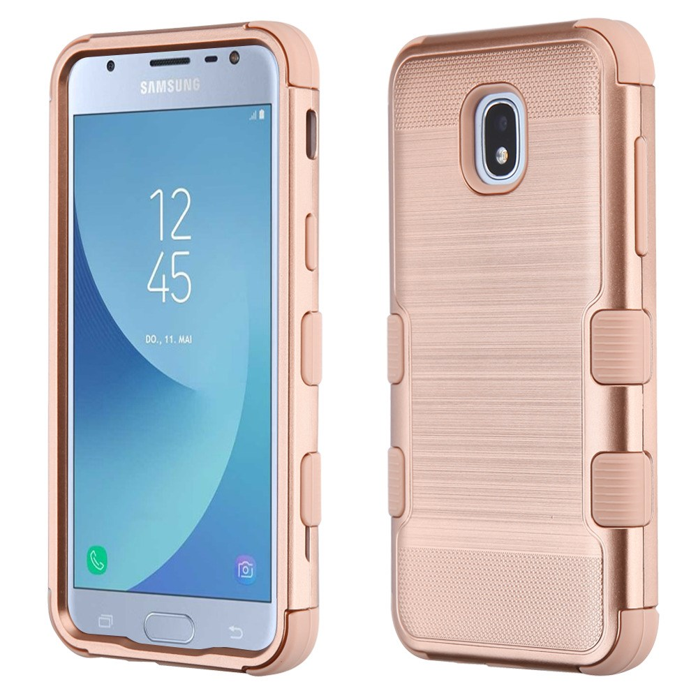 TUFF Hybrid Series Military Grade Certified Metallic Brushed Slate Finish Phone Protector Cover Case and Atom Cloth for Samsung Galaxy Amp Prime 3 (Cricket) - Rose Gold