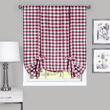 Country Chic Plaid Gingham Tie Up Shade Window Curtain Treatment - Burgundy