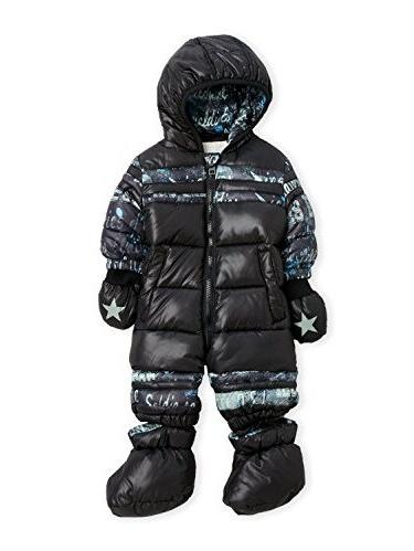 DIESEL Baby Boy Hooded Snowsuit Black Print