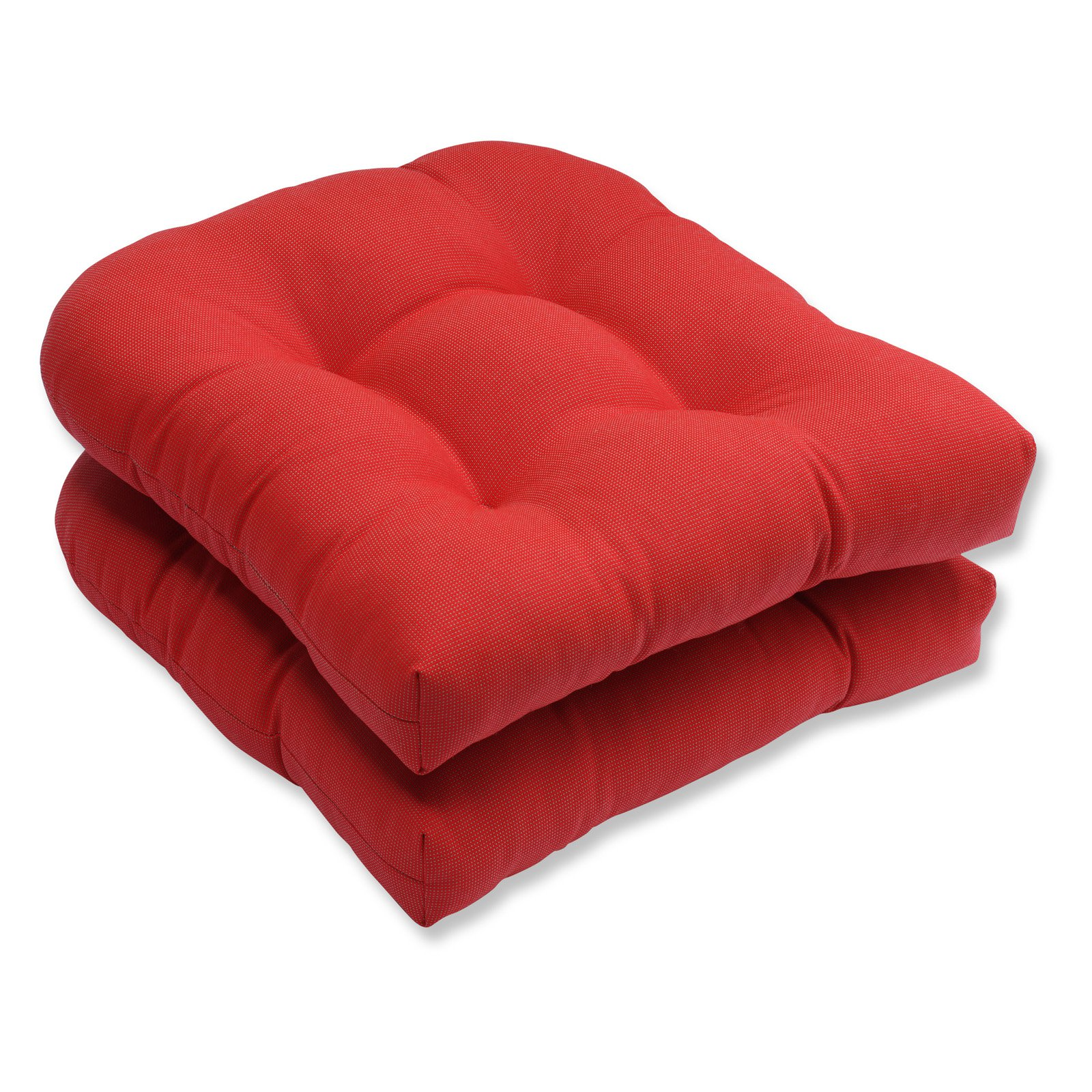 Pillow Perfect Outdoor/ Indoor Tweed Red Wicker Seat Cushion (Set of 2)