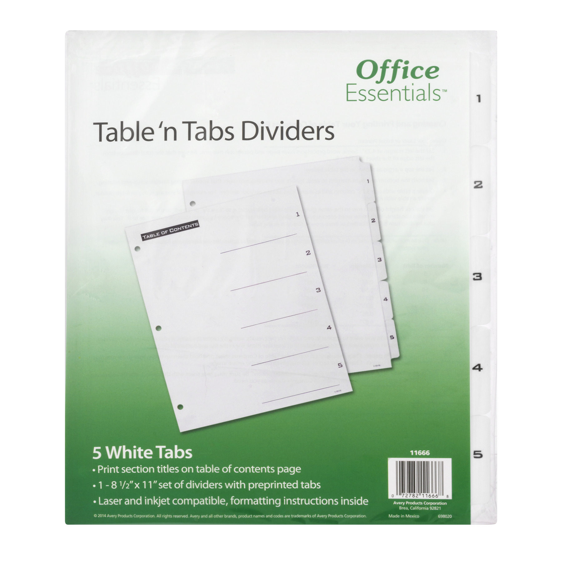 Office Essentials Table 'n Tabs Dividers, 1.0 CT