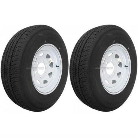 2-Pack Trailer Tire On Rim ST225/75D15 225/75 D 15 in. LRD 6 Hole White