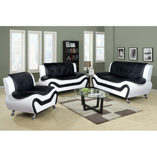Beverly Fine Furniture Linda 3 Piece Leather Living Room