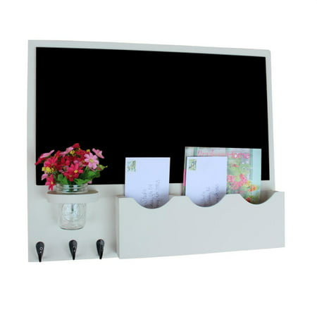 Mail Organizer with Chalkboard and Two Mail Slots - One Single Slot and One Large Double Slot with Key Hooks and Mason Jar - Opening Standard Mail Slot