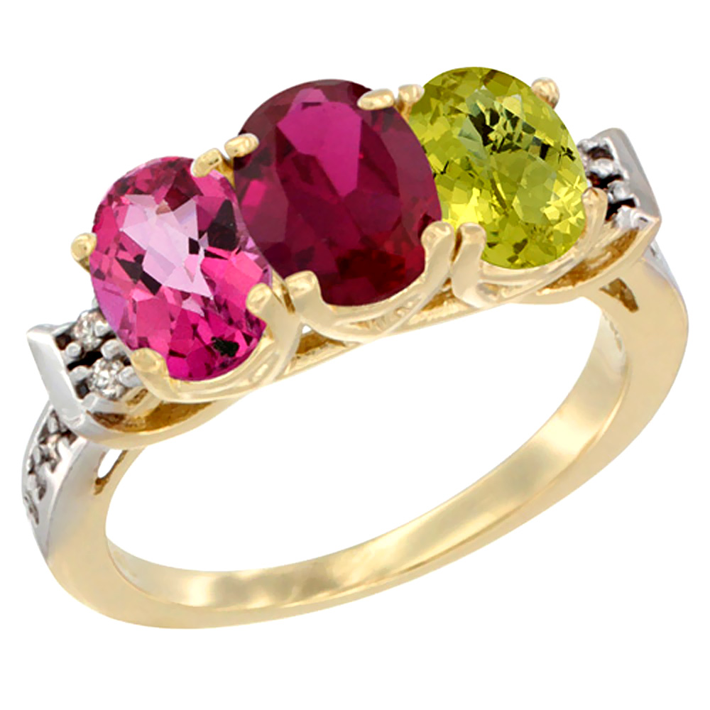 10K Yellow Gold Natural Pink Topaz, Enhanced Ruby & Natural Lemon Quartz Ring 3-Stone Oval 7x5 mm Diamond Accent, sizes... by WorldJewels