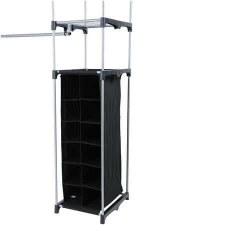 Modern Clothes Shoe Storage Closet Organizer System With 2 Towers 9 Shelves New