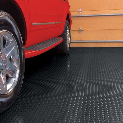 G-Floor 75 Mil Diamond Tread 7.5' x 17' Midnight Black Garage Flooring Cover/Protector