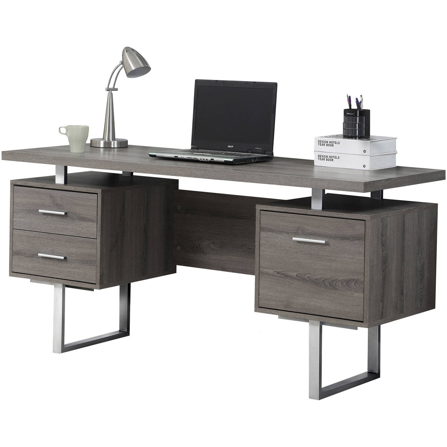 Monarch Computer Desk 60L Dark Taupe Silver Metal Walmartcom