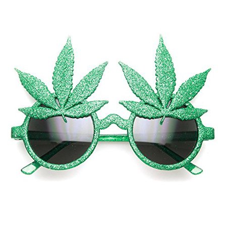 Marijuana Pot Leaf Novelty Star Power Sunglasses ()