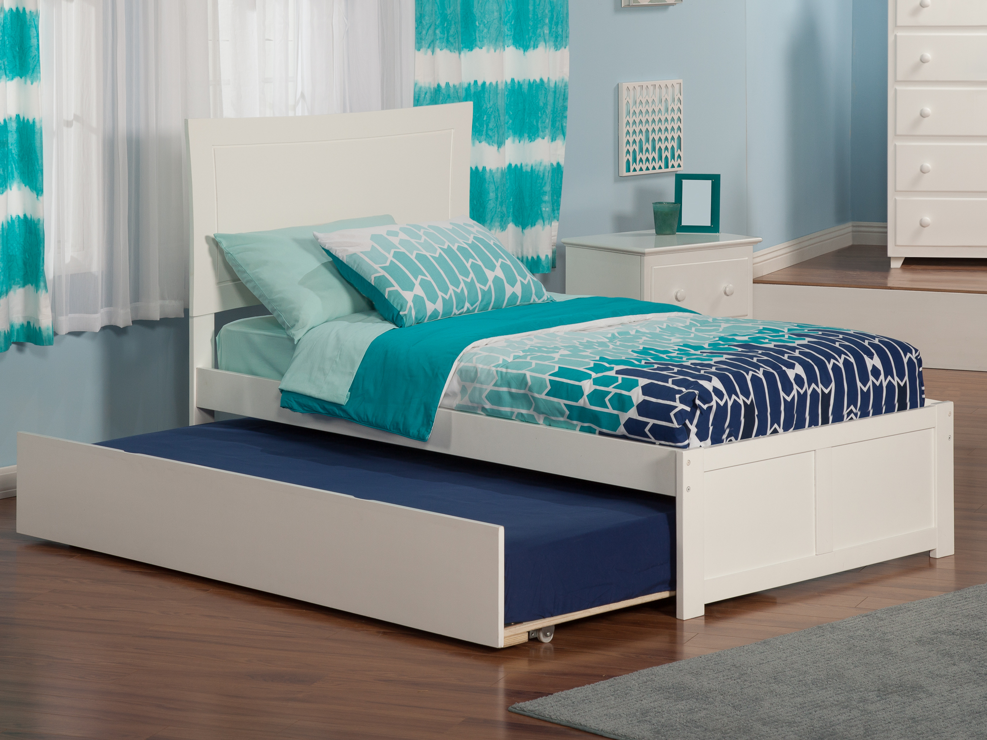 Metro Twin Platform Bed with Flat Panel Foot Board and Twin Size Urban Trundle Bed in White by Atlantic Furniture