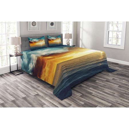 Ocean Bedspread Set, Majestic Sunset over the Sea Scenic Idyllic Aquatic View Morning Picture, Decorative Quilted Coverlet Set with Pillow Shams Included, Turquoise Orange Blue, by Ambesonne ()