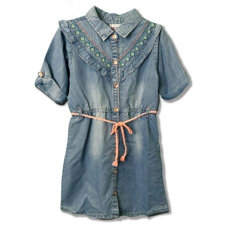 Embroidered Ruffled 3/4 Sleeve Denim Dress (Big Girls)