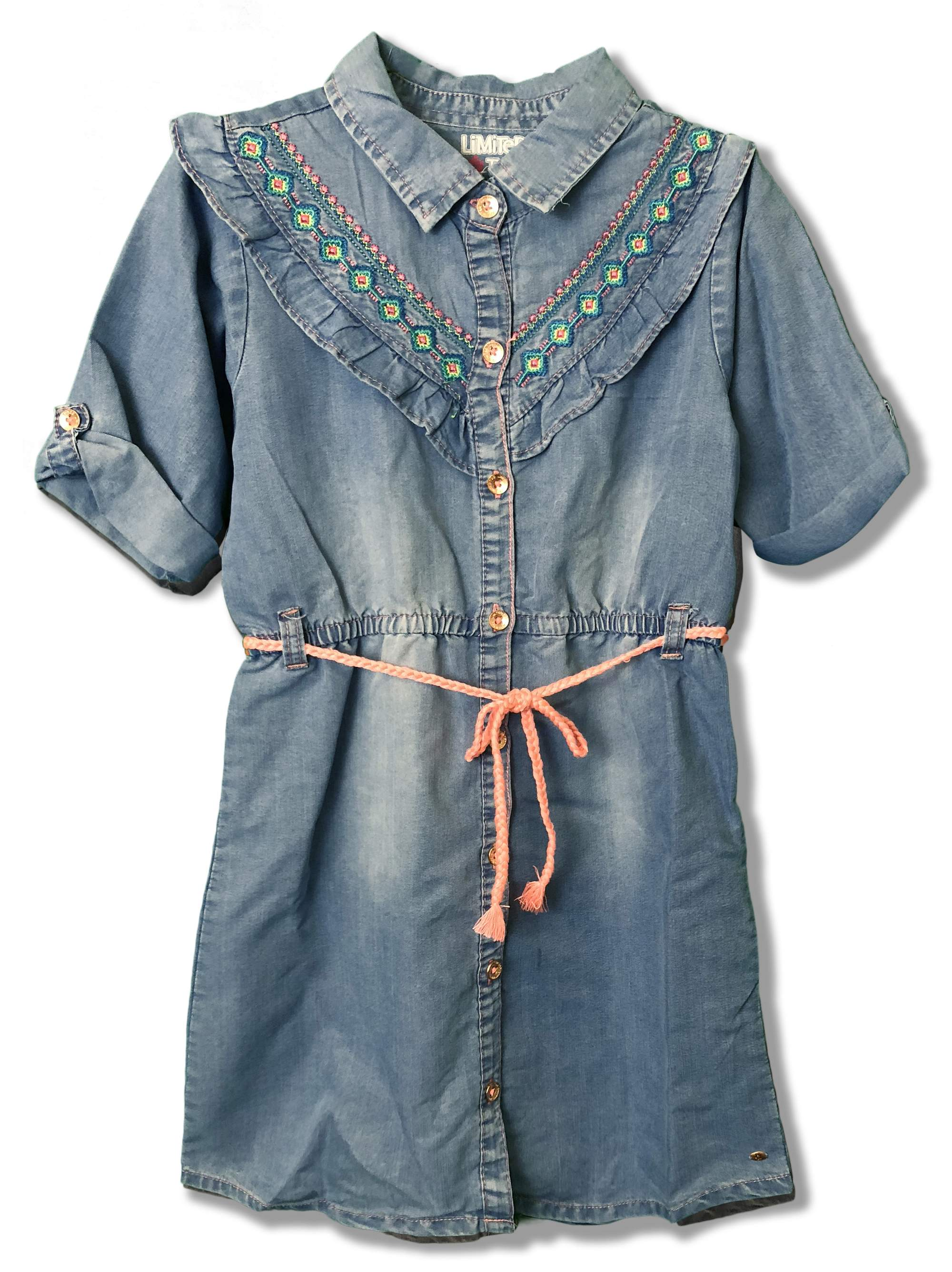 Embroidered Ruffled 3/4 Sleeve Denim Dress (Big Girls)