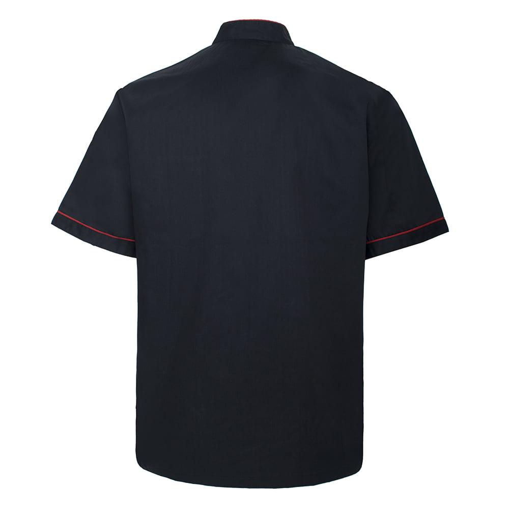TOPTIE Unisex Short Sleeve Chef Coat Jacket Black with Red
