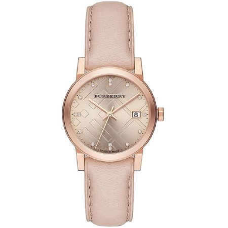 (Burberry  BU9131  Brown / Pink Leather Analog Quartz Women's Watch)