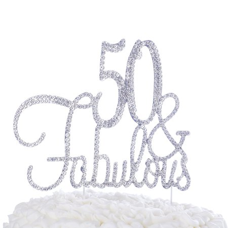 50 Fabulous Cake Topper For 50th Birthday Party Decoration Supplies Cursive Silver