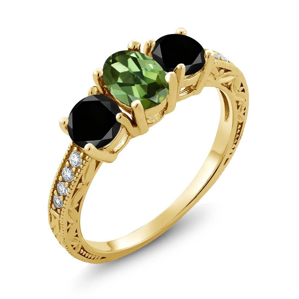 1.92 Ct Oval Green Tourmaline Black Diamond 18K Yellow Gold Ring by