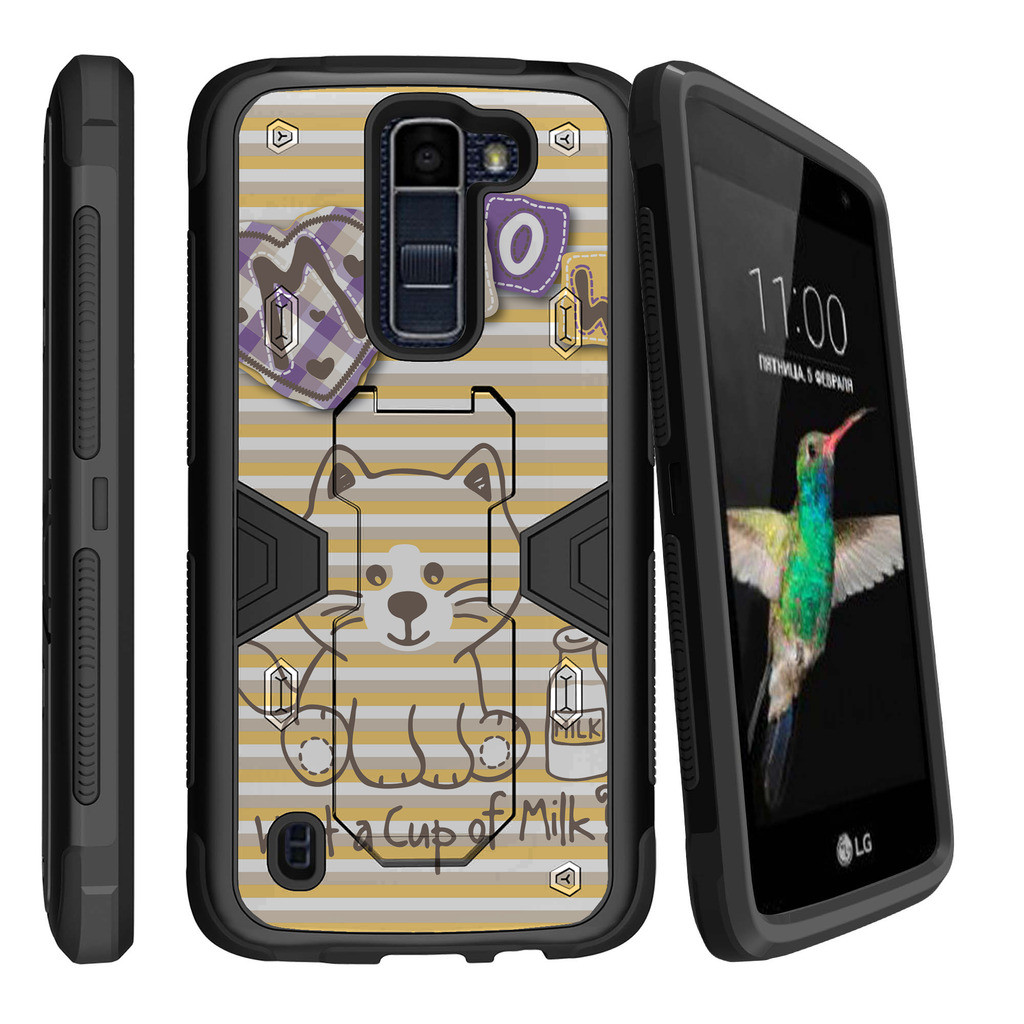 LG K7 | LG Tribute 5 Dual Layer Shock Resistant MAX DEFENSE Heavy Duty Case with Built In Kickstand - Cute Little Fox