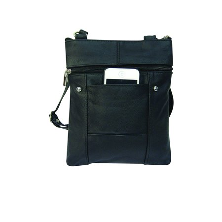 Improving Lifestyles Leather Multi-Pocket Crossbody Purse Bag Black RLILRM004BK