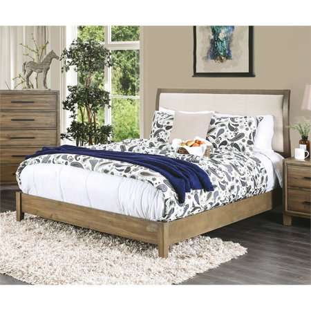 Fabulous Furniture Of America Ron California King Upholstered Bed In Light Oak Andrewgaddart Wooden Chair Designs For Living Room Andrewgaddartcom