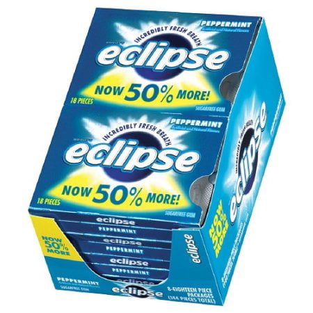 Eclipse Chewing Gum, Peppermint, 18 Count Tear Pack (Pack of 8) by Eclipse