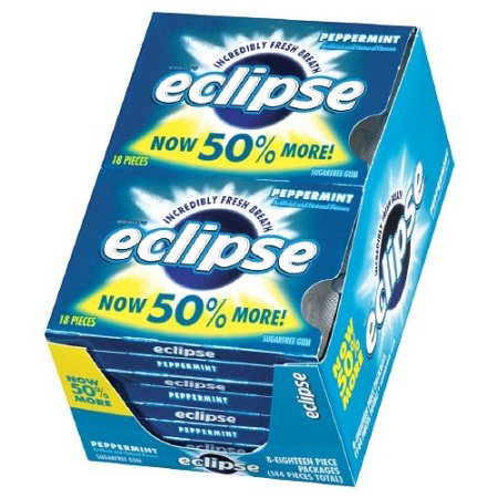 Eclipse Chewing Gum, Peppermint, 18 Count Tear Pack (Pack of 8)