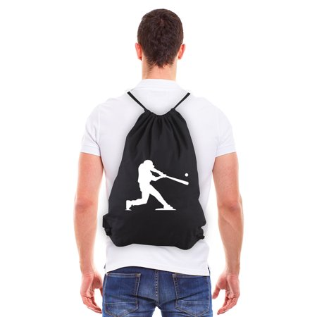 Baseball Player Reusable Cotton Canvas Draw String Bag Black & (Best Rolling Baseball Bags)