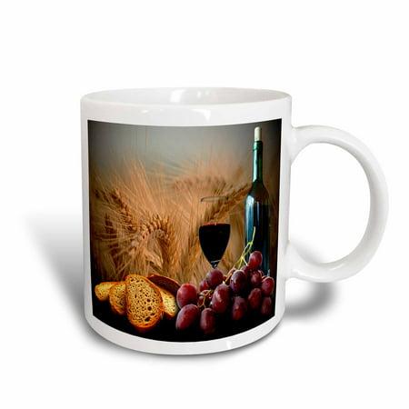 Grape Ceramic - 3dRose Wine Bread Grapes, Ceramic Mug, 11-ounce