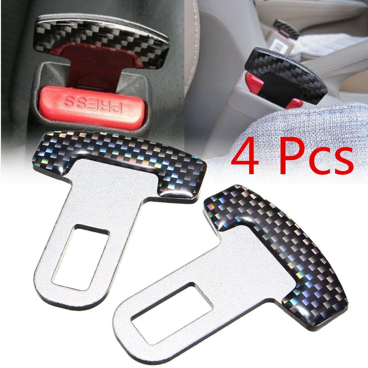 4x Car Safety Seat Belt Buckle Carbon Fiber Security Seatbelt Alarm Stopper Clip Clamp Aluminum Universal Auto Vehicle SUV