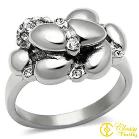 Classy Not Trashy® Size 9 Stainless Steel Clear Crystal Jeweled Women's Thin Band Ring