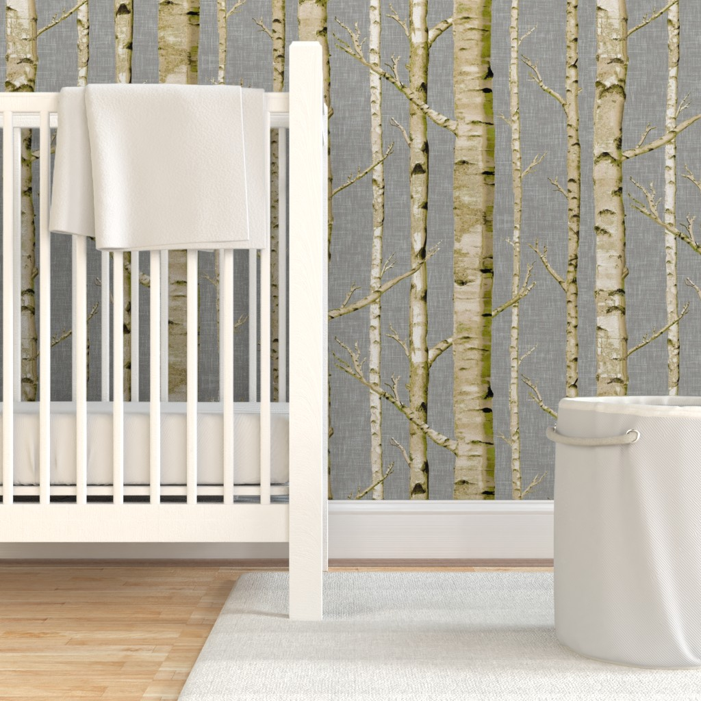 Birch White Trees Forest Winter Wallpaper Roll Woodland 24in x 27ft