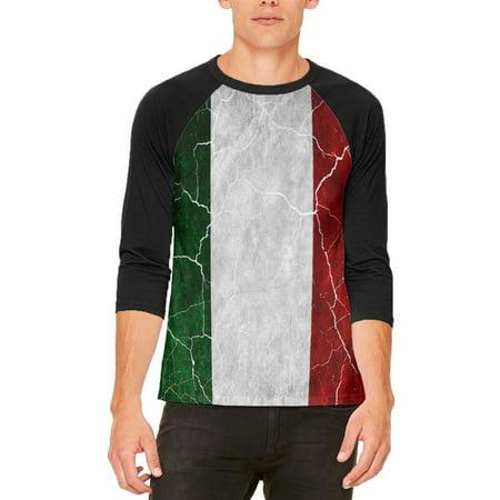 Mens Italian (Distressed Italian Flag Mens Raglan T Shirt )