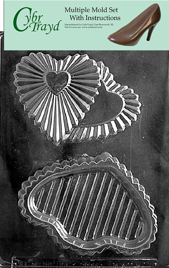 Cybrtrayd Bunny on Heart Pour Box Valentine Chocolate Candy Mold with Chocolatiers Guide Instructions Book Manual