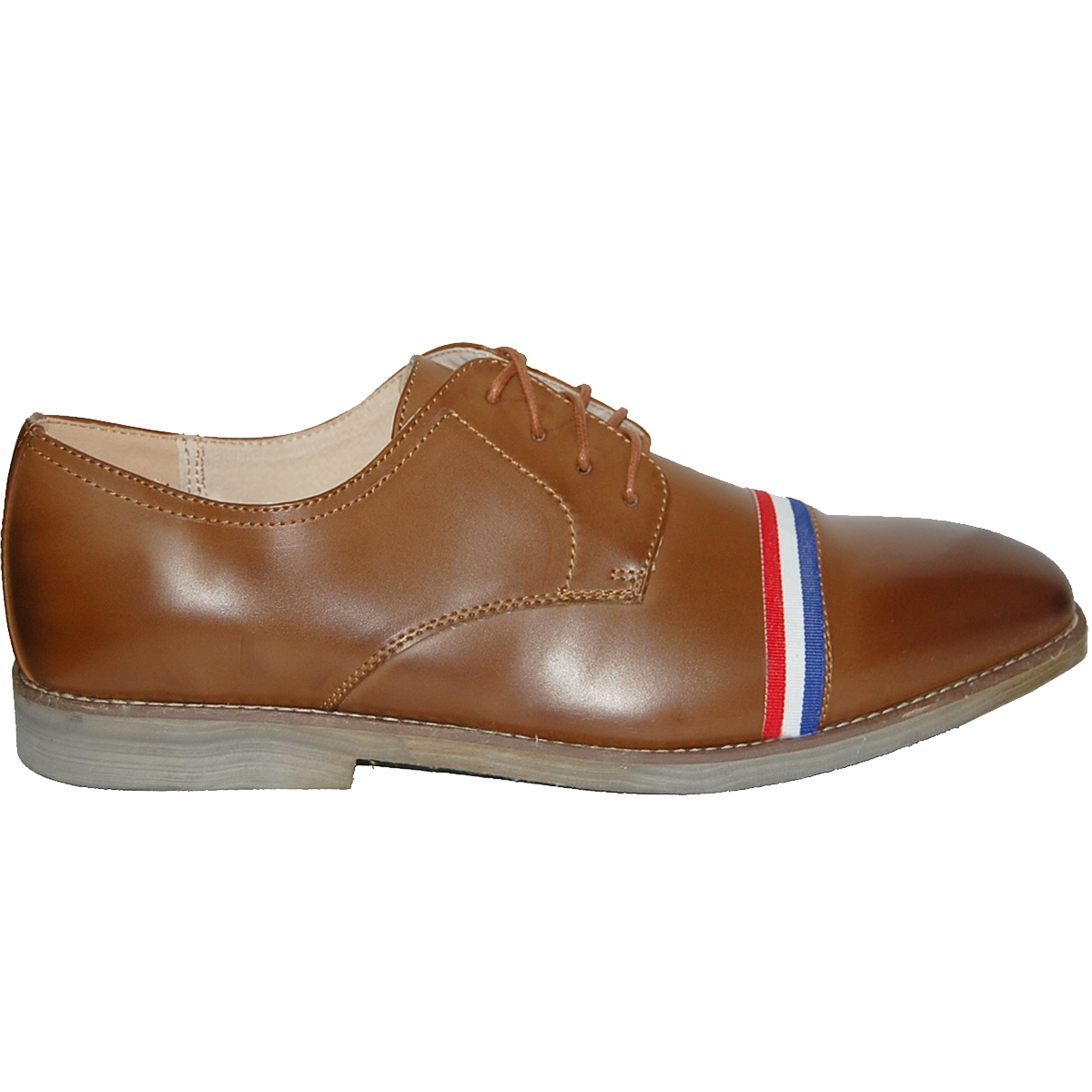KRAZY SHOE ARTISTS Brown Cap Toe with Red-White-Blue Striped Ornament Men Oxfords