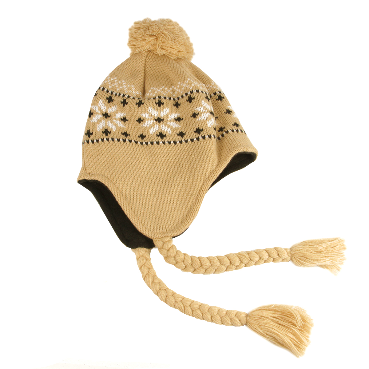 Unisex Light Khaki Jacquard Knit Winter Hat with Ear Flaps - One Size