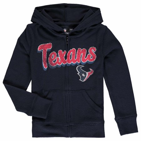 Houston Texans 5th & Ocean by New Era Girls Youth Brushed Knit Tri-Blend Full-Zip Hoodie - Navy