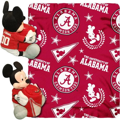 """Disney NCAA Hugger Pillow and 40"""" x 50"""" Throw Set, Alabama Crimson Tide"""