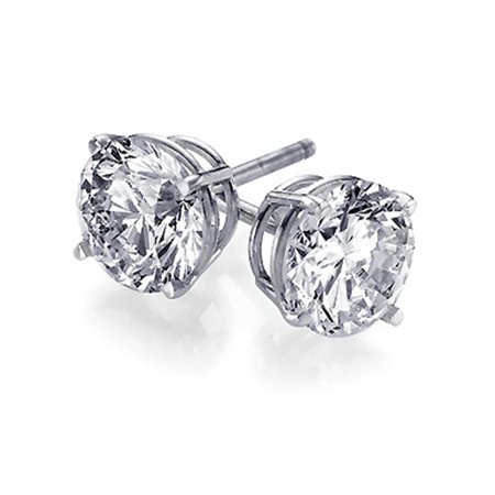 8 Mm Round Stud (925 Sterling Silver 4.0 tcw Basket Setting 8MM Clear Round CZ Cubic Zirconia Nickel Free Stud Earrings)