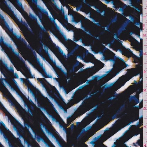 Black Multi Chevron Patchwork Stretch Sateen, Fabric By the Yard