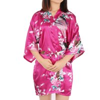 Women's Satin Short Kimono Robes for Wedding Party